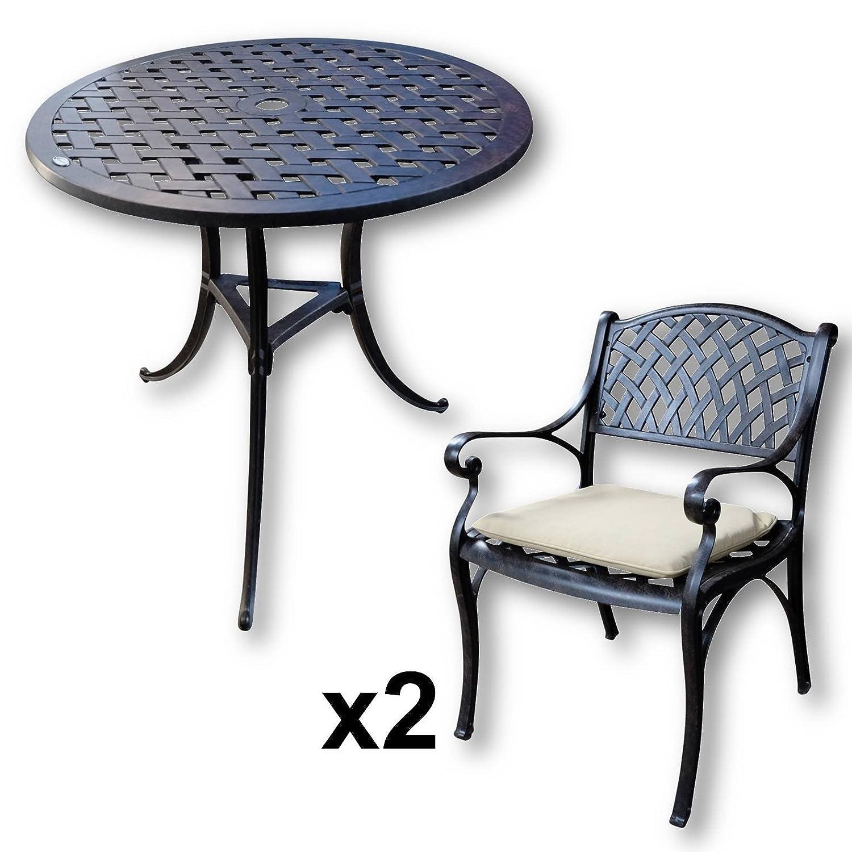 Lazy Susan – BETTY Bistrotisch mit 2 Stühlen – Rundes Gartenmöbel Set aus Metall, Antik Bronze (KATE Stühle, Beige Kissen) bestellen