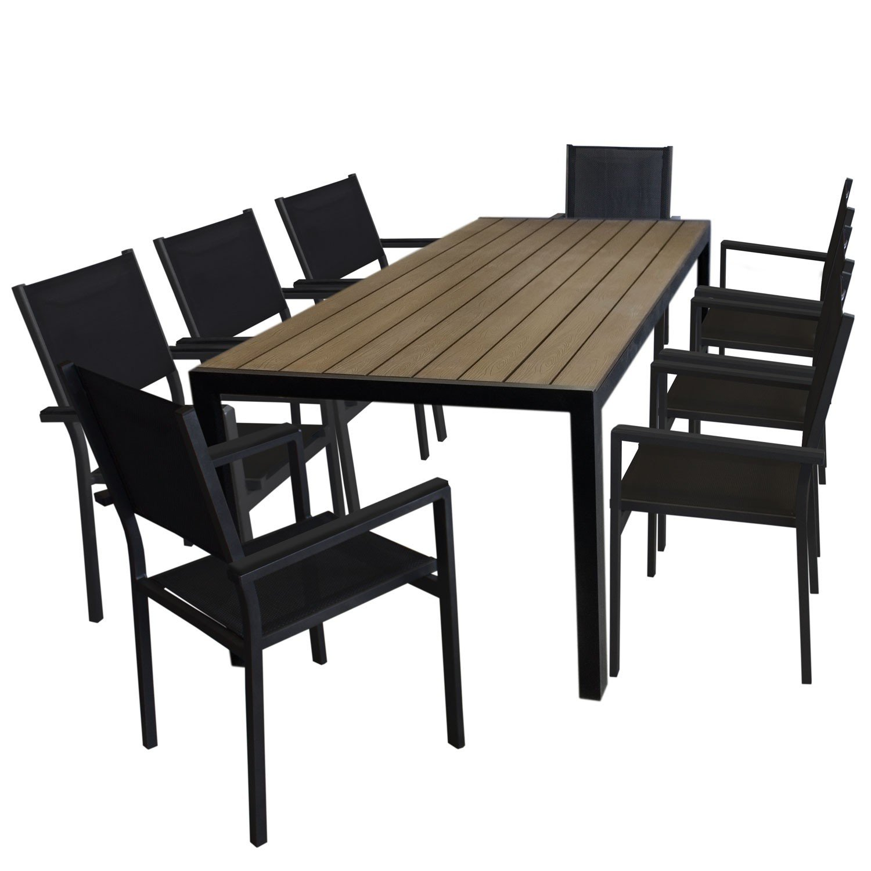 9tlg. Gartengarnitur Aluminium Gartentisch, Tischplatte Polywood Braun, 205x90cm + 8x Aluminium Stapelstuhl, 4x4 Textilenbespannung, schwarz - Gartenmöbel Set Sitzgarnitur Sitzgruppe