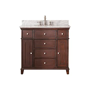 Avanity Windsor 36 in. Vanity with Carrera White Marble top and Undermount Sink in Walnut finish