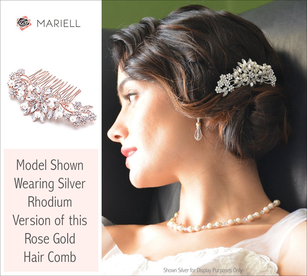 Mariell Rose Gold Vintage Pearl and Mixed Crystal Sunburst Wedding, Bridal, Prom Comb - Retro Glam 1