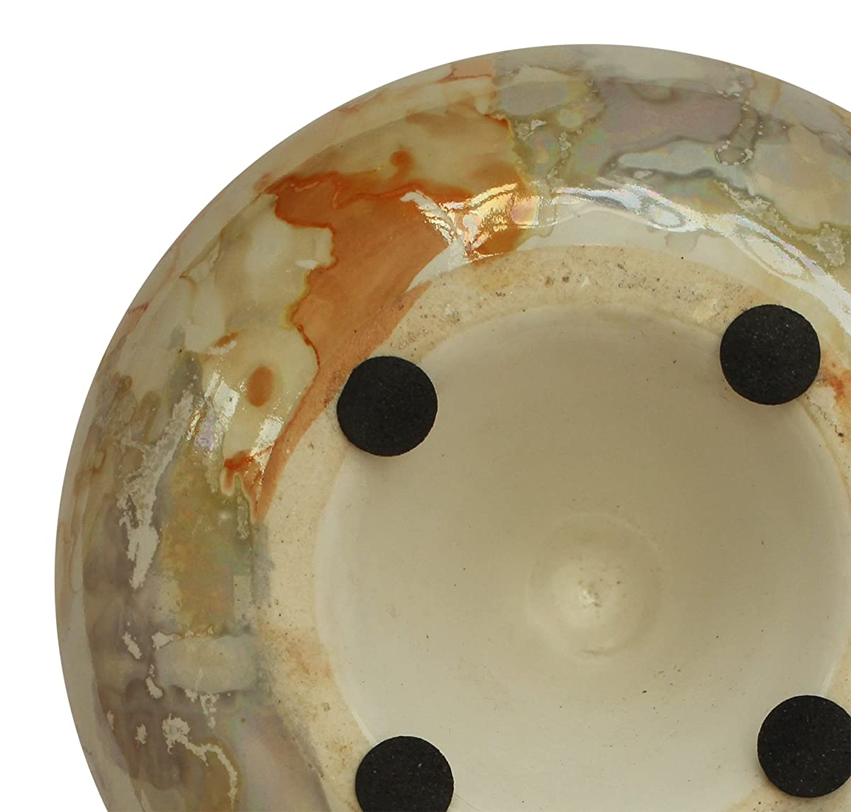 """AB Handicrafts Moroccan Round Ashtray 4"""" Hand-Painted Ceramic Ash Tray with 3 Cigarette Holder Slots (Lustre Paint Brown)"""