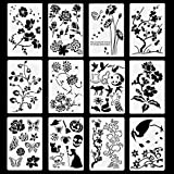 Poproo Painting Stencils Set Drawing Templates - for Kids, Bullet Journaling, Decorating (12 Pack, 10.2x6.7 inch)