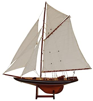Batela Maquette de voilier en bois Columbia Blue - 69 cm
