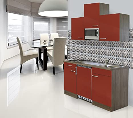 respekta Kitchen Kitchenette installation Single Mini 150 CM Imitation Oak York Red