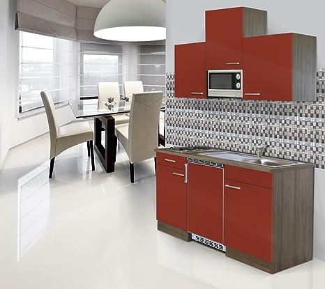 respekta Einbau Single Kuche Kuchenblock 150v cm Eiche York Nachbildung Rot CERAN