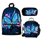 Bigcardesigns Blue Butterfly Backpack Canvas School Bag with Lunch bag Pencil Bag Set for Women Girls (Color: Blue butterfly - 3 pcs/set, Tamaño: Medium)