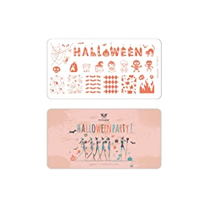 CICI&SISI Halloween Party Acrylic Nail Art Stamping Plates Kit Holiday Stamp Plate Manicure Template 4 Pieces (Tamaño: Halloween Party)