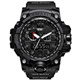 KXAITO Men's Watches Sports Outdoor Waterproof Military Watch Date Multi Function Tactics LED Alarm Stopwatch (Full_Black) (Color: full_black, Tamaño: large)