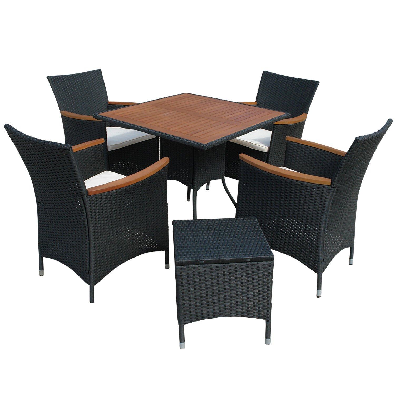 indoba® IND-70086-VASE6 - Serie Valencia - Gartenmöbel Set 6-teilig aus Eukalyptus Holz und Polyrattan - 4 Gartenstühle + 4 Sitzauflagen + quadratischer Gartentisch + Gartenhocker