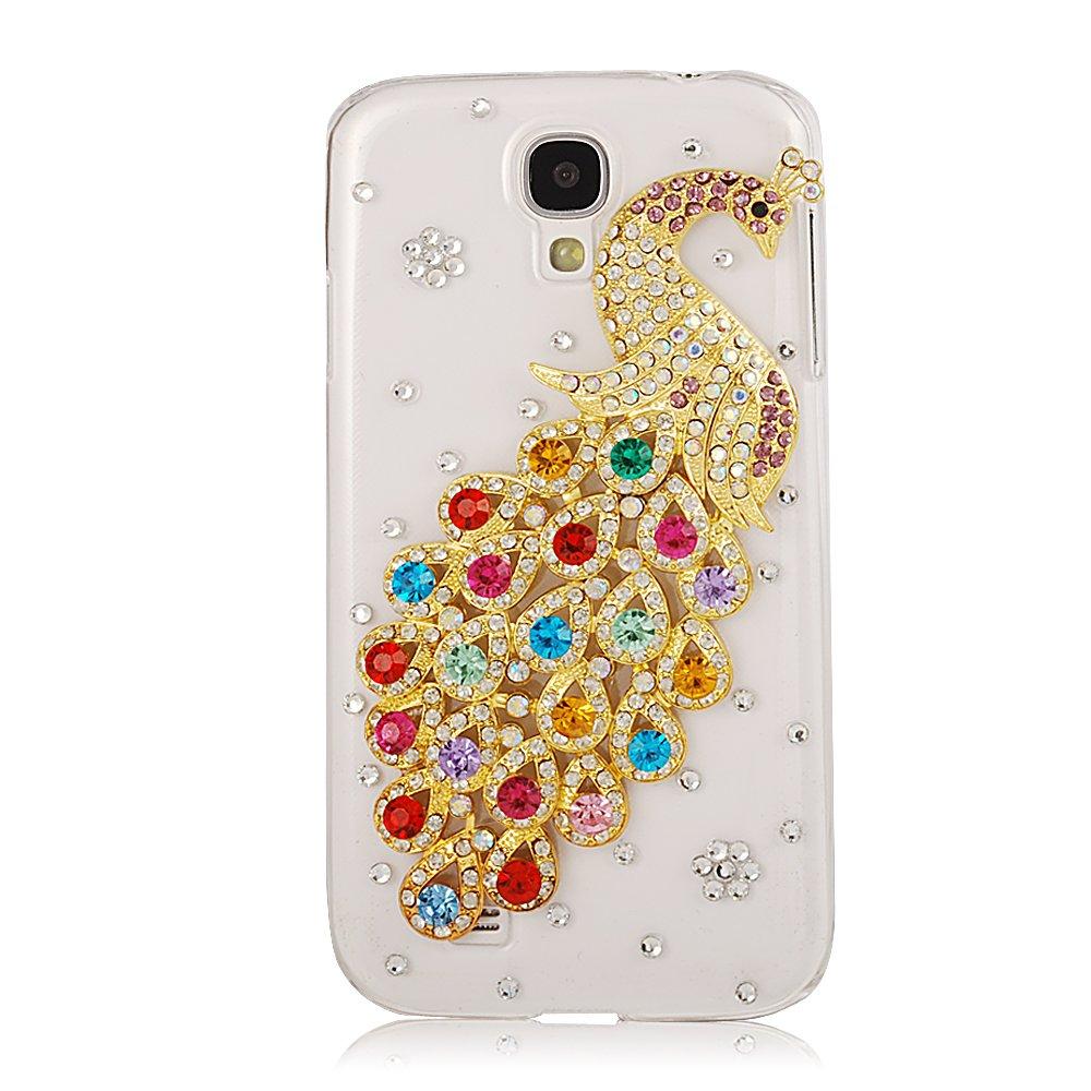 New 3D Handmade Luxury Rainbow Peacock Rhinestone Cover Hard White Case Clear for Samsung Galaxy S4