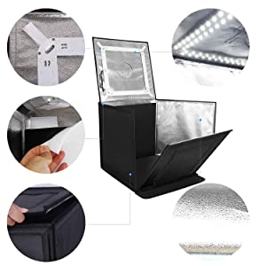 Amzdeal Foldable Photo Studio 24x24 Inch Light Box with 4 LED Strips 5000LM 5500K,Photography Cube Shooting Tent,with Velcro Design,4 Backdrops (Blue/White/Black/Orange)-Upgraded Version