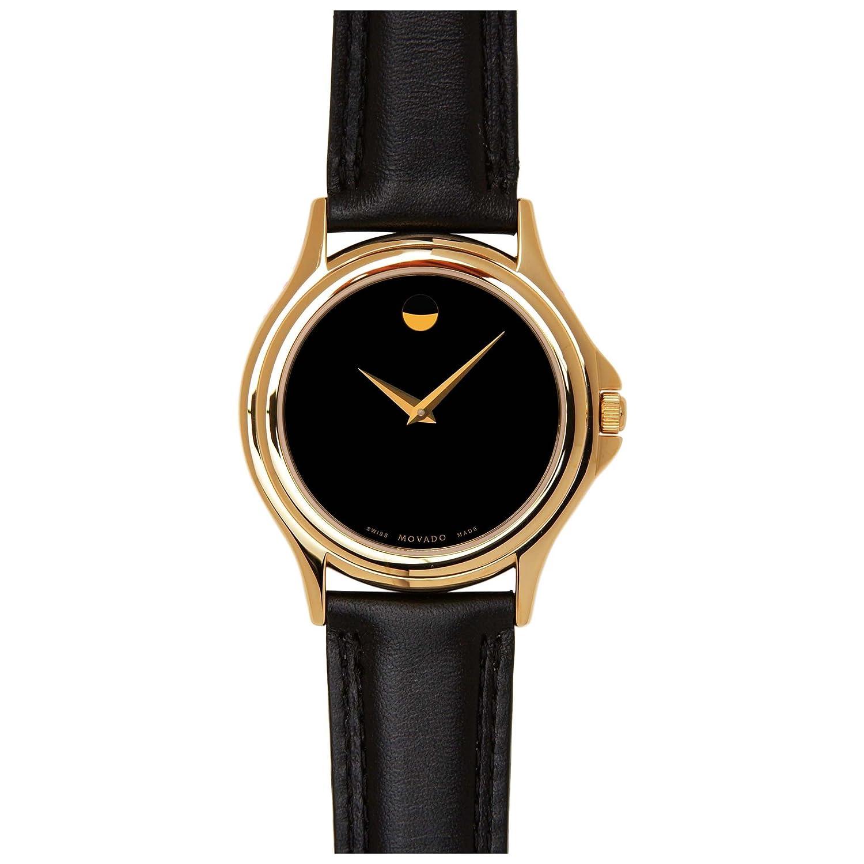 movado classic mens gold tone black 0690301 ebay
