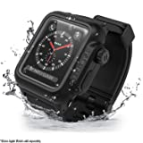 Waterproof Apple Watch Case 42mm Series 2 & 3 With Premium Soft Silicone Apple Watch Band by Catalyst, Shock Proof Impact Resistant [rugged iWatch protective case], Stealth Black (Color: Black)