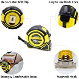 Tape Measure By TOSSOW - 1-Inch x 25 ft(7.5m) Retractable Heavy Duty Metric and Inches Measuring Tape with Magnetic Hook, Shock Absorbent Rubber Covered Case - Professional Ruler for Carpenter & Diyer