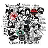 S-003 46pcs Game of Thrones Stickers Winter is Coming Fire and Blood Merchandise MacBook Decal Vinyl Sticker Mac Air Pro Retina Laptop 2 Sheets/Pack Stickers for Water Bottles (Color: black)