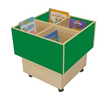 Mobeduc 602103HR21 libreria-Secchio per bambini, in legno, colore: verde scuro/legno naturale, 60 x 60 x 60 cm