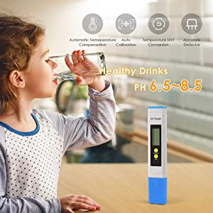 Wellcows Digital PH Meter, PH Meter 0.01 PH High Accuracy Water Quality Tester with 0-14 PH Measurement Range for Household Drinking, Pool and Aquarium Water PH Tester Design with ATC (2019Blue) (Color: Blue)