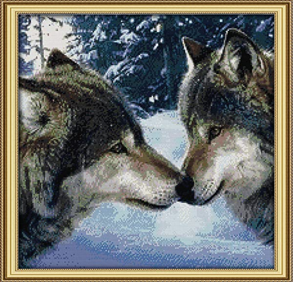Joy Sunday 11CT Stamped Cross Stitch Kits Cross-Stitch The Kiss of Wolves DMC Threads Wolf Pattern DIY Hand Needlework kit 22''x22'' (Color: Stamped kit,the kiss of wolves)