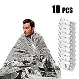 UBEGOOD Emergency Blanket,10 Pack Silver Space Blanket, 52