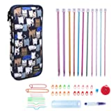 Teamoy Aluminum Tunisian Crochet Hooks Set, Afghan Kits with Case, 11pcs 2mm to 8mm Afghan Hooks and Accessories, Compact and Easy to Carry, Blue Cats (Color: Blue Cats)