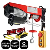 Partsam 1760 lbs Lift Electric Hoist Crane Remote Control Power System, Zinc-Plated Steel Wire Overhead Crane Garage Ceiling Pulley Winch w/Premium Straps (UL/CUL Approval, w/Emergency Stop Switch) (Tamaño: 1760 lbs w/ 2 Slings)