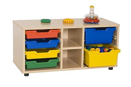 Mobeduc 600112HP18-Mobiletto per bambini/superbajo libreria cubetero, in legno, colore: faggio, dimensioni 90 x 40 x 44 cm
