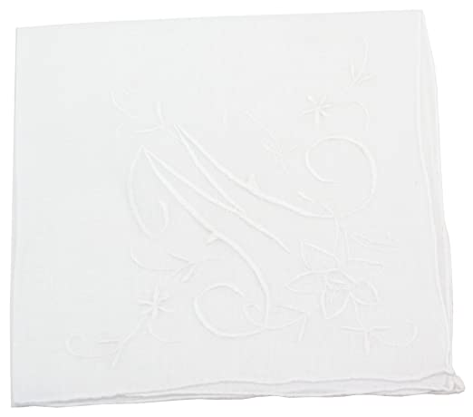 Extra Large Cotton Handkerchief with Monogram Embroidery in 4 Colors