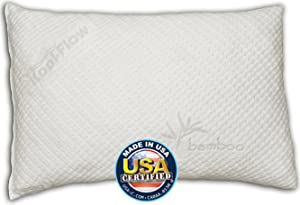 Snuggle-Pedic Ultra-Luxury Kool-Flow Bamboo Shredded Memory Foam Pillow, Queen