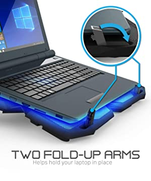 Fosmon 4 Fan Cooling Pad for 13 to 17-inch Gaming Laptop PS4 MacBook Pro, [1200 RPM|Max 75CFM Air Flow] USB Powered Quiet Cooler Fan Portable Stand with Dual 2.0 USB Ports & Blue LED Lights (Color: Upgraded)