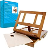 U.S. Art Supply Walnut Solana Adjustable Wood Desk Table Easel with Storage Drawer, Paint Palette, Premium Beechwood - Portable Wooden Artist Desktop, Board for Canvas, Painting, Drawing, Book Stand (Color: Walnut Finish)