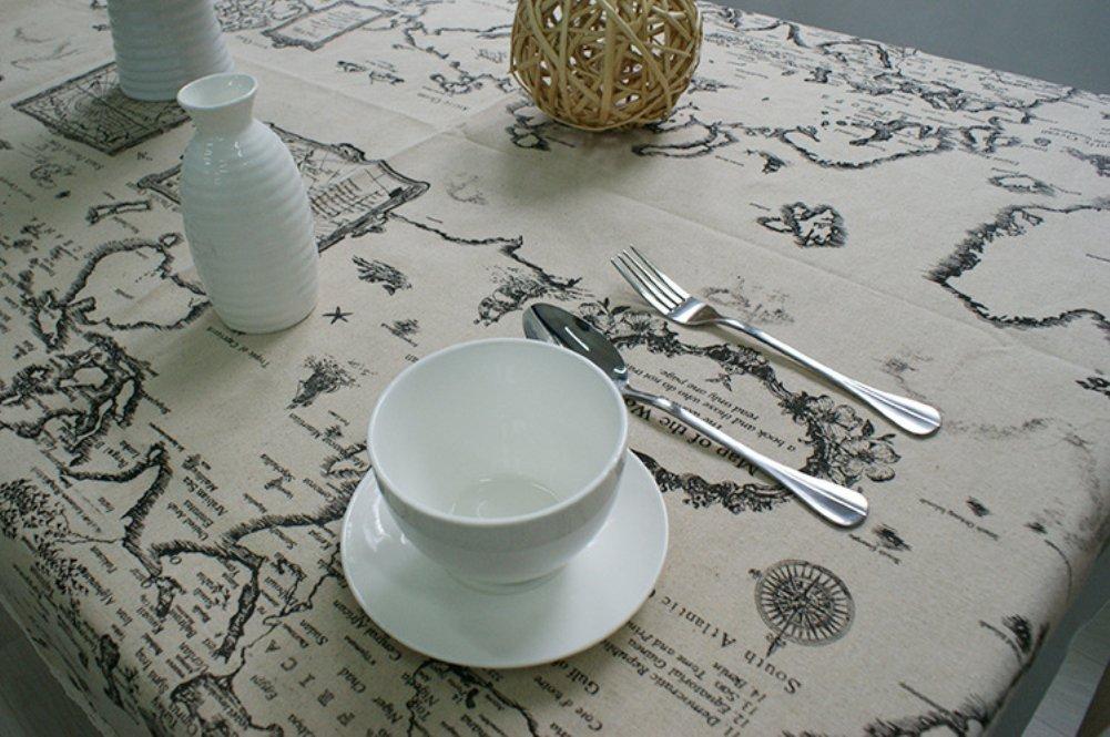 Kingmerlina Cotton Linen Rectangle Map Print Vintage Tablecloth Multi Size 2