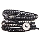 KELITCH Black Onyx and Silver-Plated Hematite Bead 5 Wrap Bracelet on Black Leather