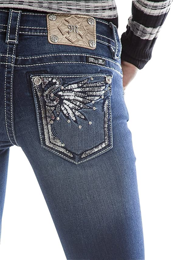 Miss Me Silver Sequin wing bootcut jeans