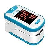 HJK Fingertip Pulse Oximeter Portable Digital Blood Oxygen and Pulse Sensor Meter SPO2 Pulse Oximeter hylogy Blood Oxygen Saturation Monitor for Adults Child with Batteries and Lanyard Navy Blue