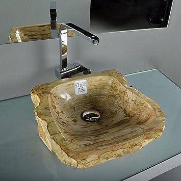 wohnfreuden fossiles waschbecken braun beige ca 48x45x16 cm dc503. Black Bedroom Furniture Sets. Home Design Ideas