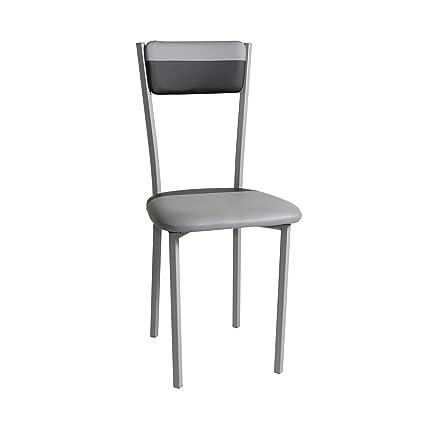 Pack 4 sillas de cocina de polipiel, color combinado negro y gris, estructura metálica (Medida 40x45x89cm)