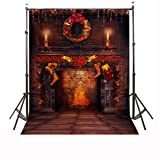 Christmas Photography Background,CAMTOA 7x5ft Beautiful Christmas theme photography Christmas Photography Backdrop Red Candle Fire Studio Backdrop (Color: Style C)