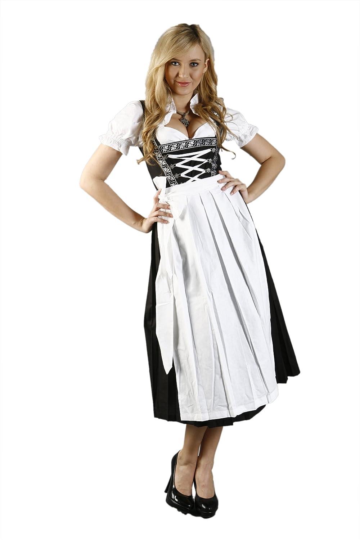 3tlg. Dirndl Set mit Blumenborte Schwarz Weiß mit Bluse und Schürze günstig online kaufen