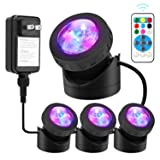 Pond Lights Remote Control Submersible Lamp [Set of 4] IP68 Underwater Aquarium Spot light 48-LED Multi-color with Timer Setting Decoration Landscape Lamp for Swimming Pool Fish Tank Fountain Water (Color: Multi)