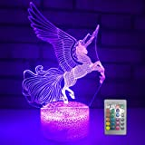 Unicorn Night Light, 3D Optical Illusion Night Lamp for Kids Room Décor,Perfect Birthday Gifts for Kids Women Girls with Remote 16 Colors Adjustable by eTongtop (Horse) (Color: Horse)
