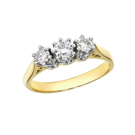 0.50 ct 3 Diamonds 18 ct Yellow Gold Prong Ring