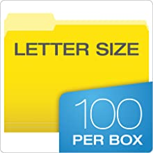 Pendaflex Two-Tone Color File Folders, Letter Size, 1/3 Cut, Yellow, 100 per Box (152 1/3 YEL)