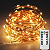 Twinkle Star 33ft 100LED Copper Wire String Lights Fairy String Lights 8 Modes LED String Lights USB Powered with Remote Control for Wedding Party Home Christmas Decoration, Warm White (Color: 100 LED Copper Wire String Lights, Warm White, Tamaño: 100 LED)