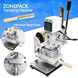 ZONEPACK Digital Embossing Machine with Stamping Letter Hot Foil Stamping Machine Manual Tipper Stamper for PVC Leather Pu and Paper Stamping with Paper Holder (Machine with Microsoft Elegant Black) (Color: Silver and White, Tamaño: Machine with Microsoft Elegant Black)