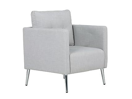 Massivum 10023417 Sessel Melrose Chromfuße, Stoff, grau, 73 x 70 x 87 cm