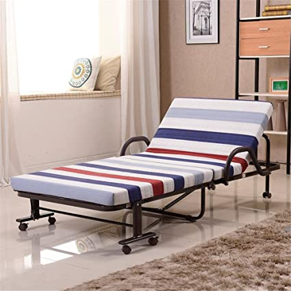 GMM® Cama plegable Cama doble simple Siesta En reposo Metal reforzado Pasarela simple Cama nórdica , blue , 90