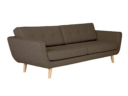 Massivum Kingsley Sofa 3- Sitzer, Stoff, braun, 96 x 216 x 78 cm
