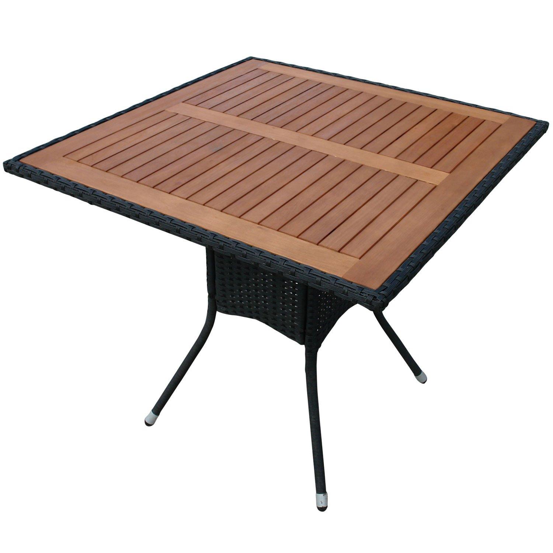 indoba® IND-70073-TI – Serie Valencia – Gartentisch aus Holz FSC zertifiziert und Polyrattan – quadratisch jetzt bestellen