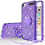 Compatible for Apple iPod Touch 6 Case, iPod Touch 5 Case, SOGA Cute Girl/Women Rhinestone Bumper Sparkling Glitter Bling Diamond Phone Cover with Magnetic Ring Stand - Purple (Color: Purple)