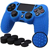 Sololife PS4 Controller Skin Grip Anti-Slip Silicone Cover Protector Case for Sony PS4/PS4 Slim/PS4 Pro Controller with 8 Thumb Grips (Color: Blue)